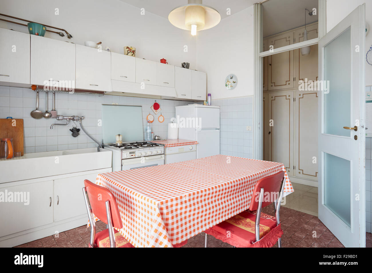 Old kitchen in normal house interior - Stock Image