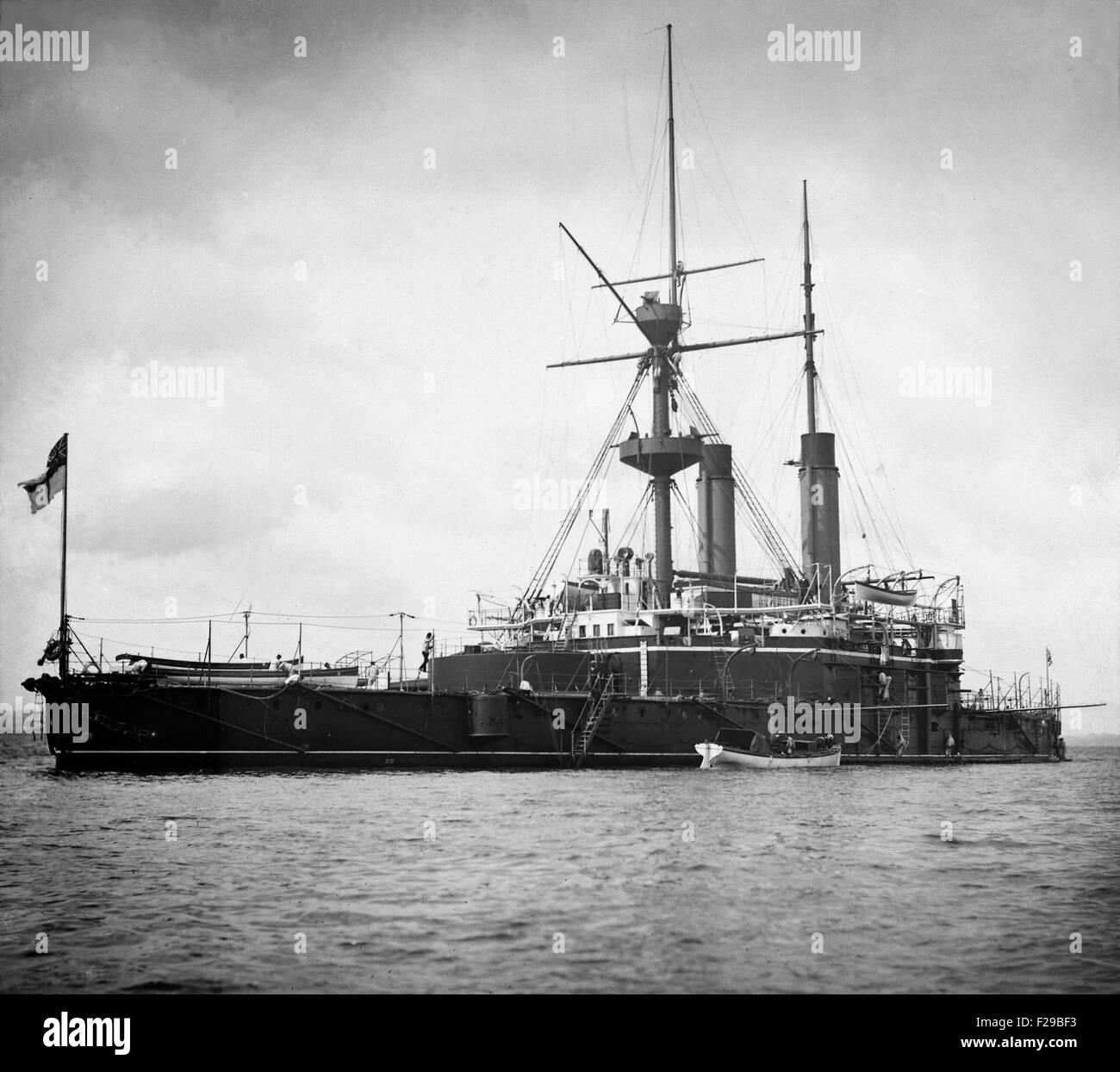 AJAXNETPHOTO.- 19TH CENTURY. 1888 - 1912 APPROX. SPITHEAD, ENGLAND. - VICTORIAN BATTLESHIP - HMS NILE, SISTER SHIP - Stock Image
