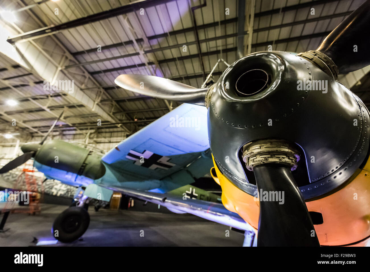 London, UK. 14th September, 2015. German planes Messerschmitt Bf109E (R) and Junkers JU88 Bomber (L). The RAF Museum - Stock Image