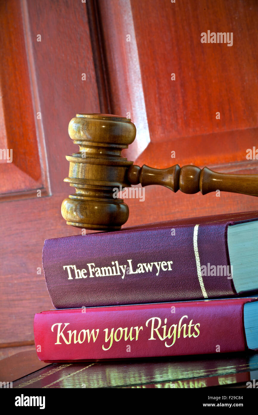 Legal concept of Judges wooden gavel with home reference legal advice books on leather bound desk - Stock Image