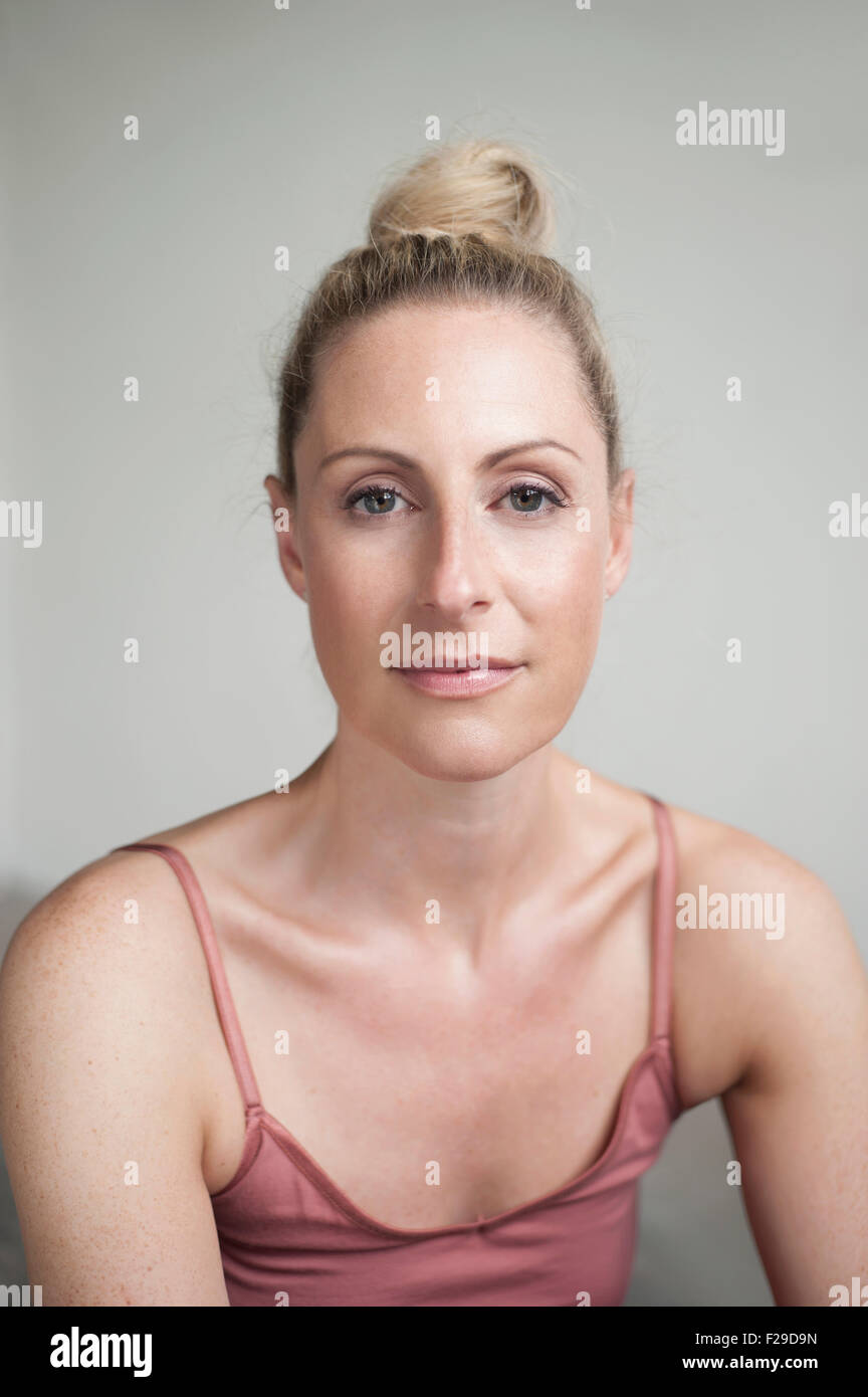 Portrait of a mid adult woman, Munich, Bavaria, Germany Stock Photo