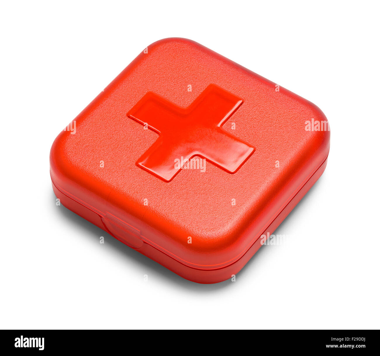Red Square First Aid Kit Isolated on White Background. - Stock Image