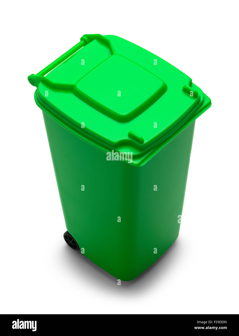 Rolling Trash Can with Copy Space Isolated on White Background. - Stock Image