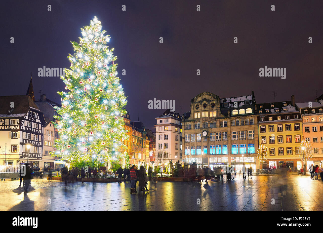The great Christmas tree in Place Kleber at Christmastime. Strasbourg. Bas-Rhin. Alsace. France - Stock Image