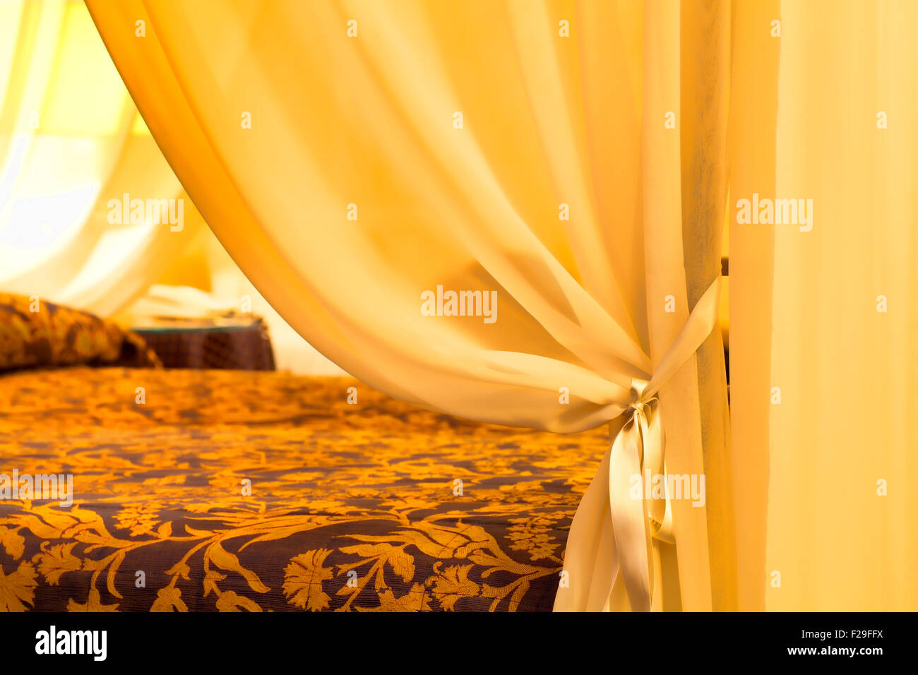 Classic Tent next to the bed - Stock Image