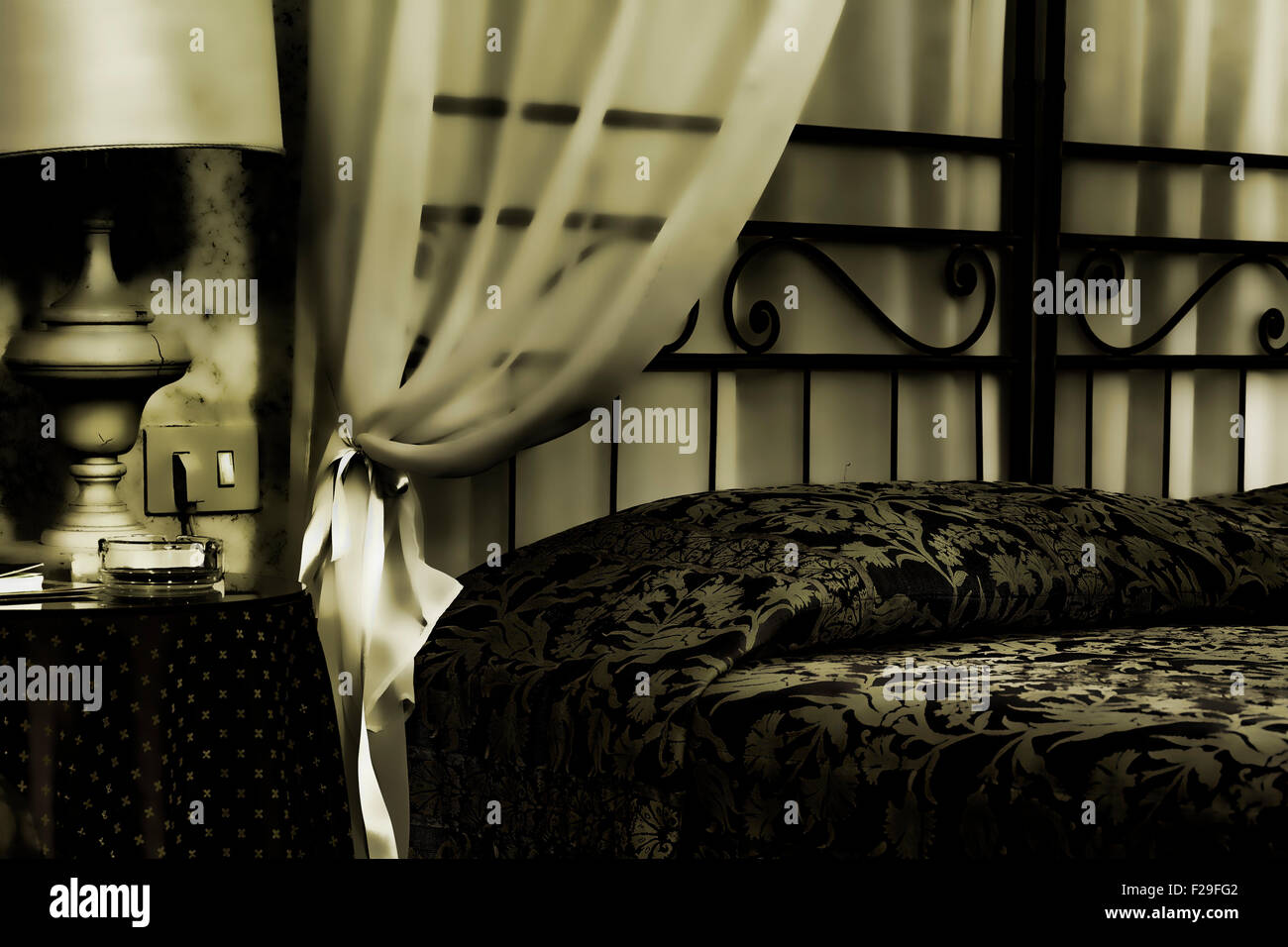 Bed in an albergue room - Stock Image