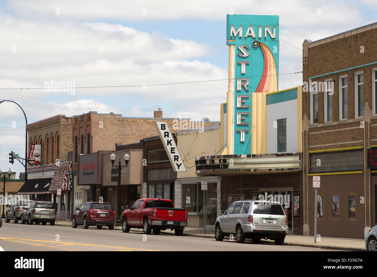 1939 art deco movie theater sign and marquee  along the Main Street of Sauk Centre, Minnesota - Stock Image