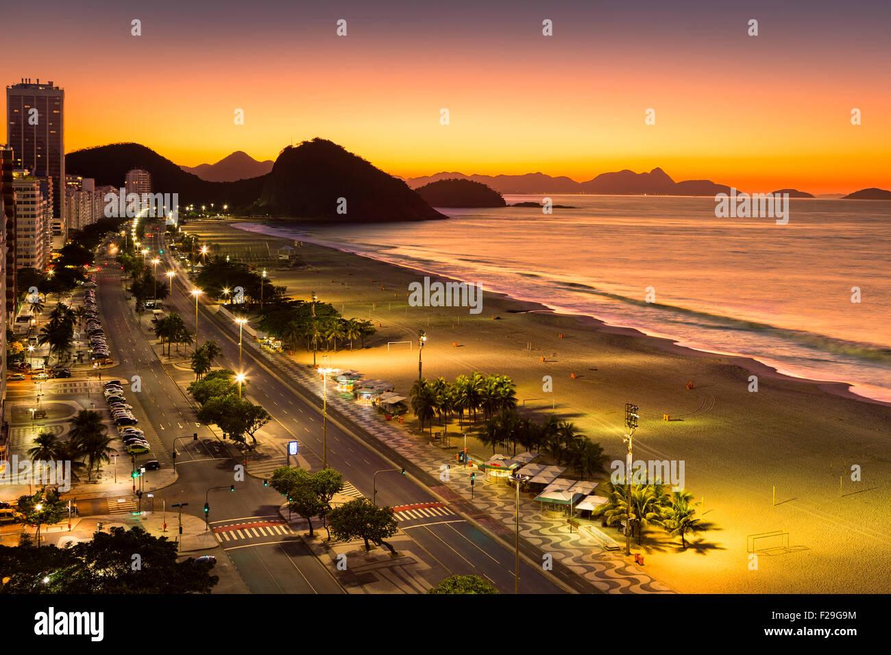 Copacabana Beach at dawn, in Rio de Janeiro, Brazil - Stock Image