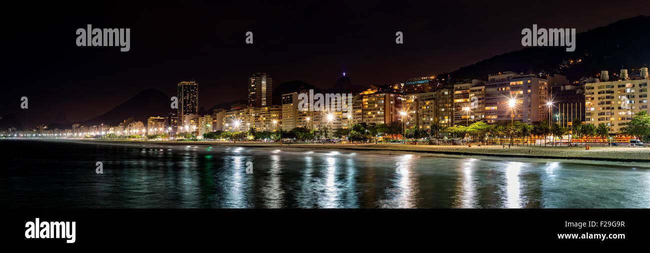 Copacabana Beach panorama by night, in Rio de Janeiro, Brazil Stock Photo