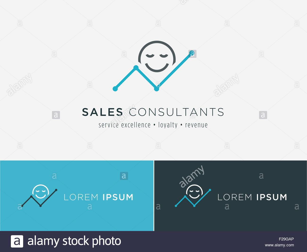 Sales consultant, sales trainer or mystery shopper company logo. Customer satisfaction and growing revenue chart - Stock Image