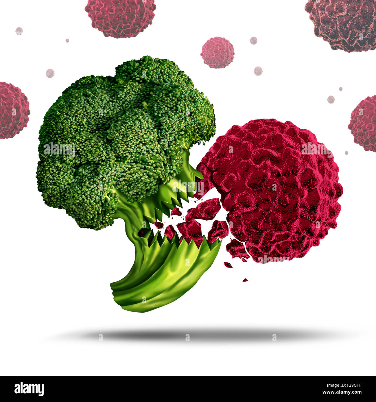 Superfood concept or super food symbol as a Broccoli character eating a cancer cell to prevent disease as a nutrient - Stock Image