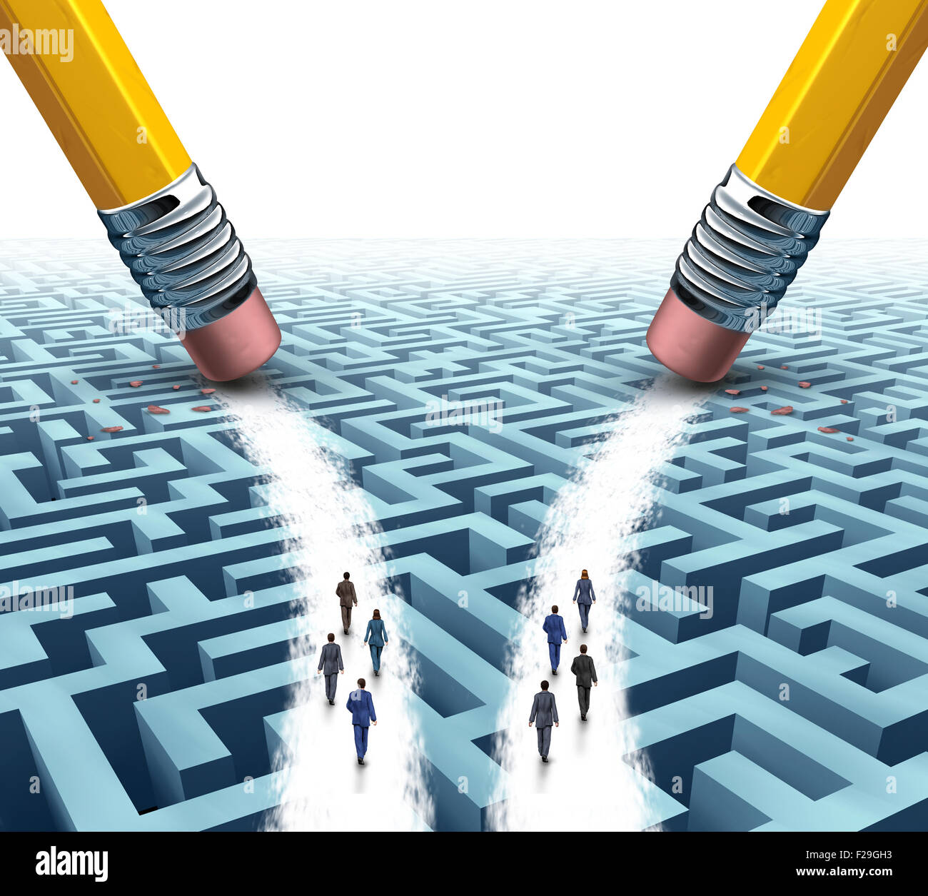 Business team solution choice as two diverse groups of employees on a maze or labyrinth walking on open paths made - Stock Image