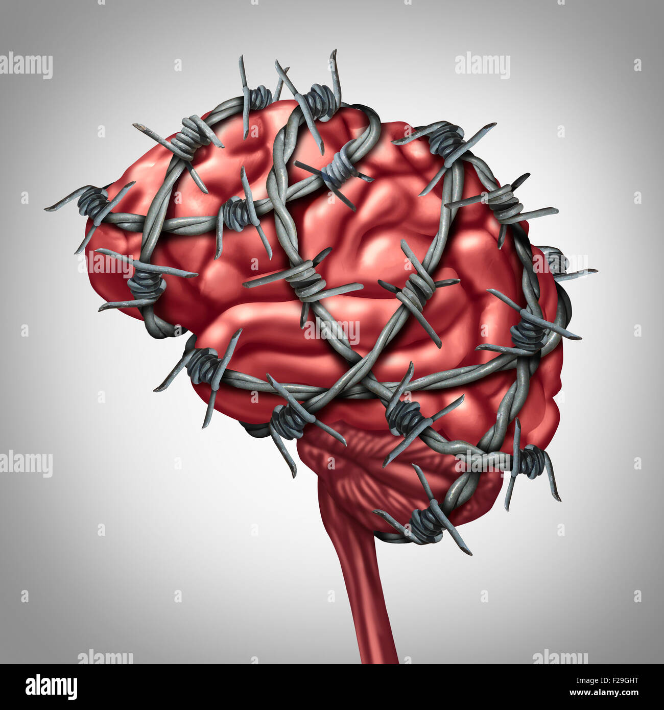 Brain pain medical health care concept as a human thinking organ with barbwire or sharp barb wire fence wrapped - Stock Image