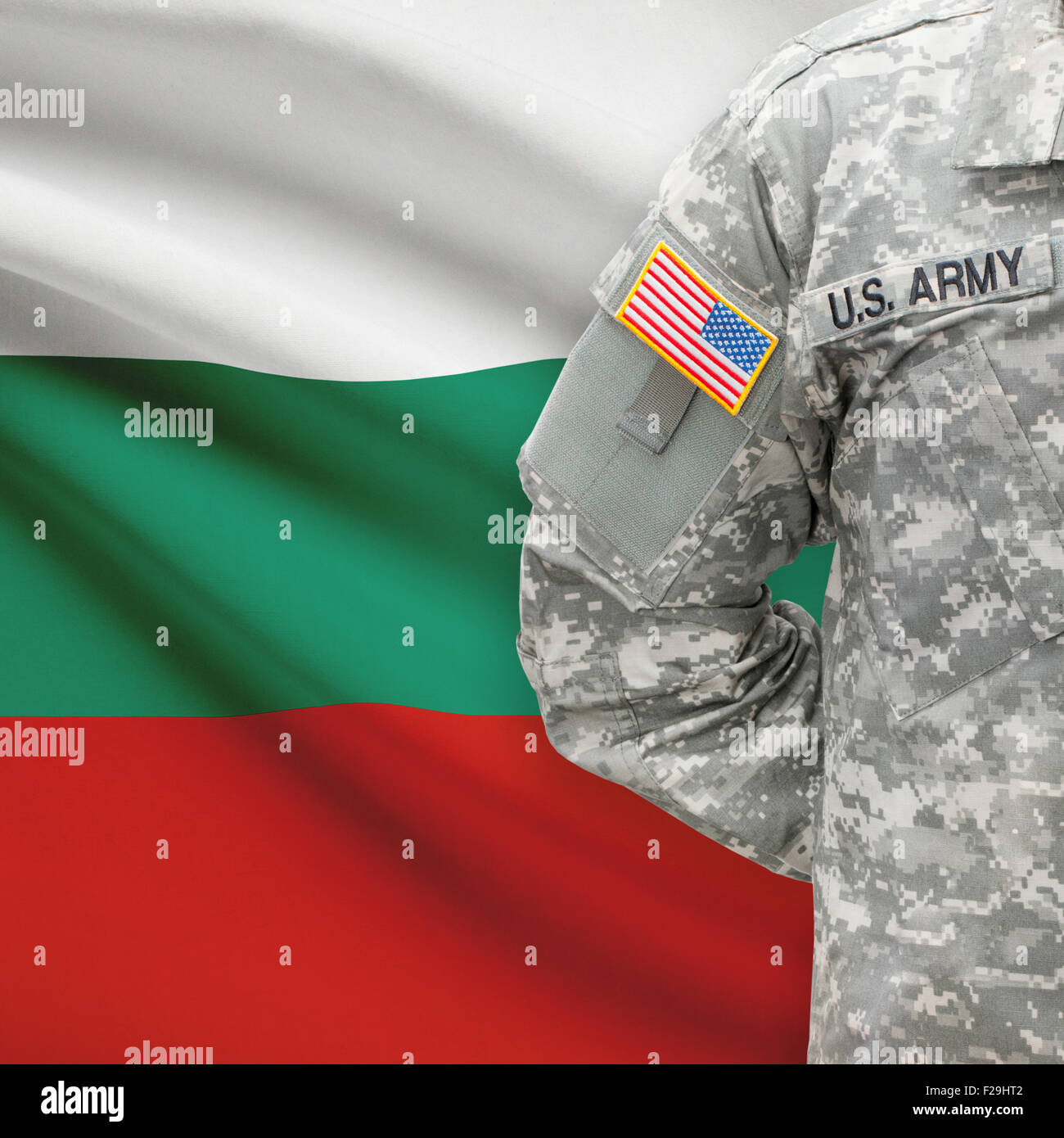 American soldier with flag on background series - Bulgaria Stock Photo