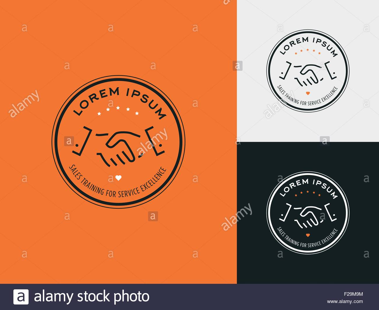 Sales consultant, sales trainer or mystery shopper company logo. Customer satisfaction, partnership and service - Stock Image
