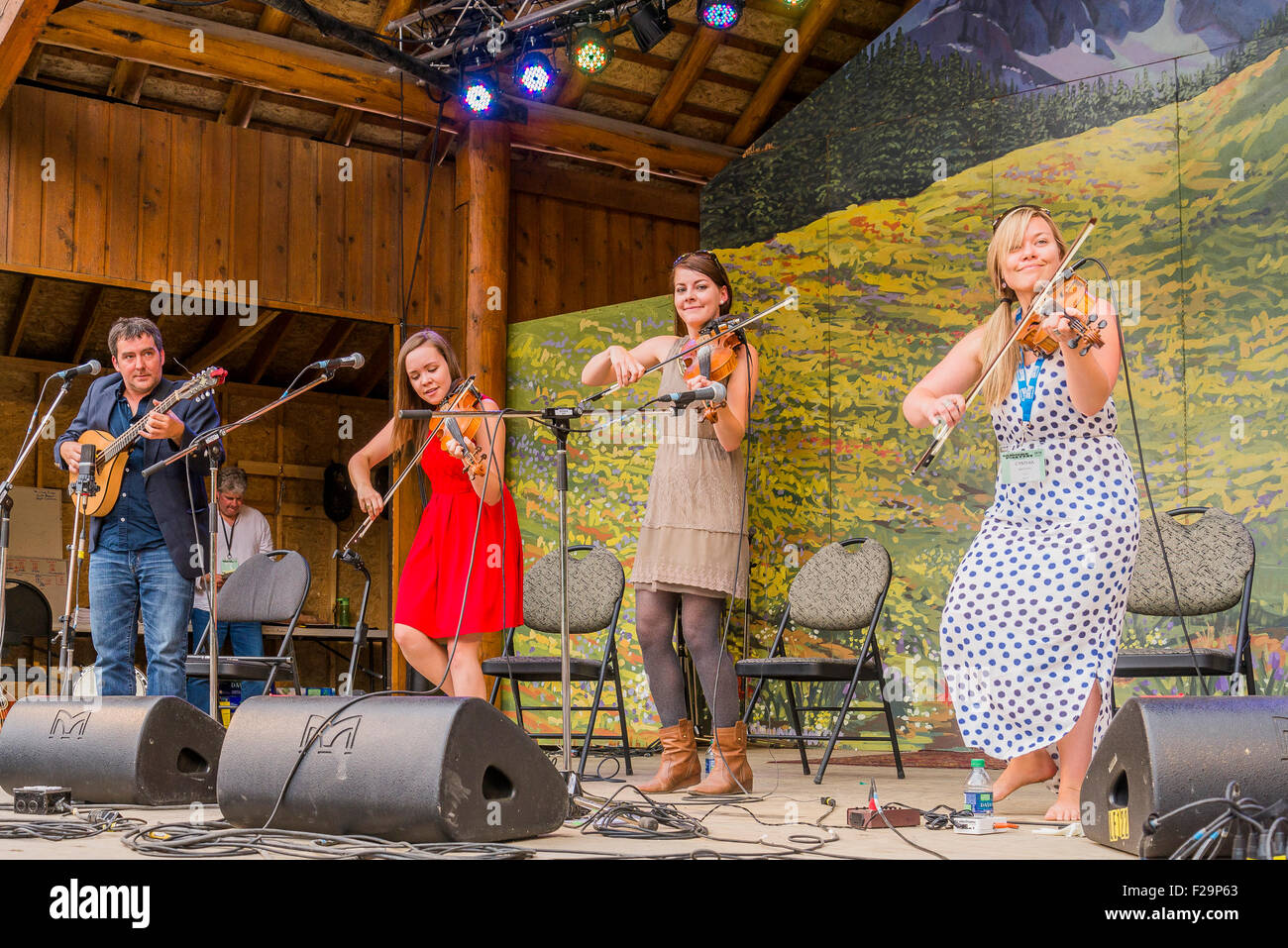Coig, perform on stage at the Canmore Folk Music Festival, Canmore, Alberta, Canada - Stock Image