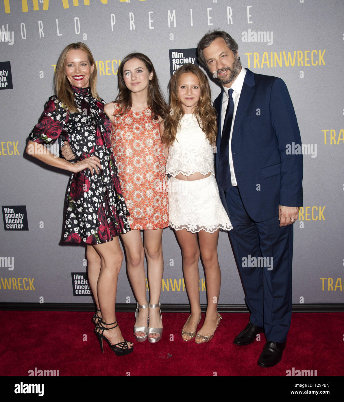 World Premiere of Trainwreck  Featuring: Leslie Mann, Judd Apatow, Family Where: New York, New York, United States - Stock Image