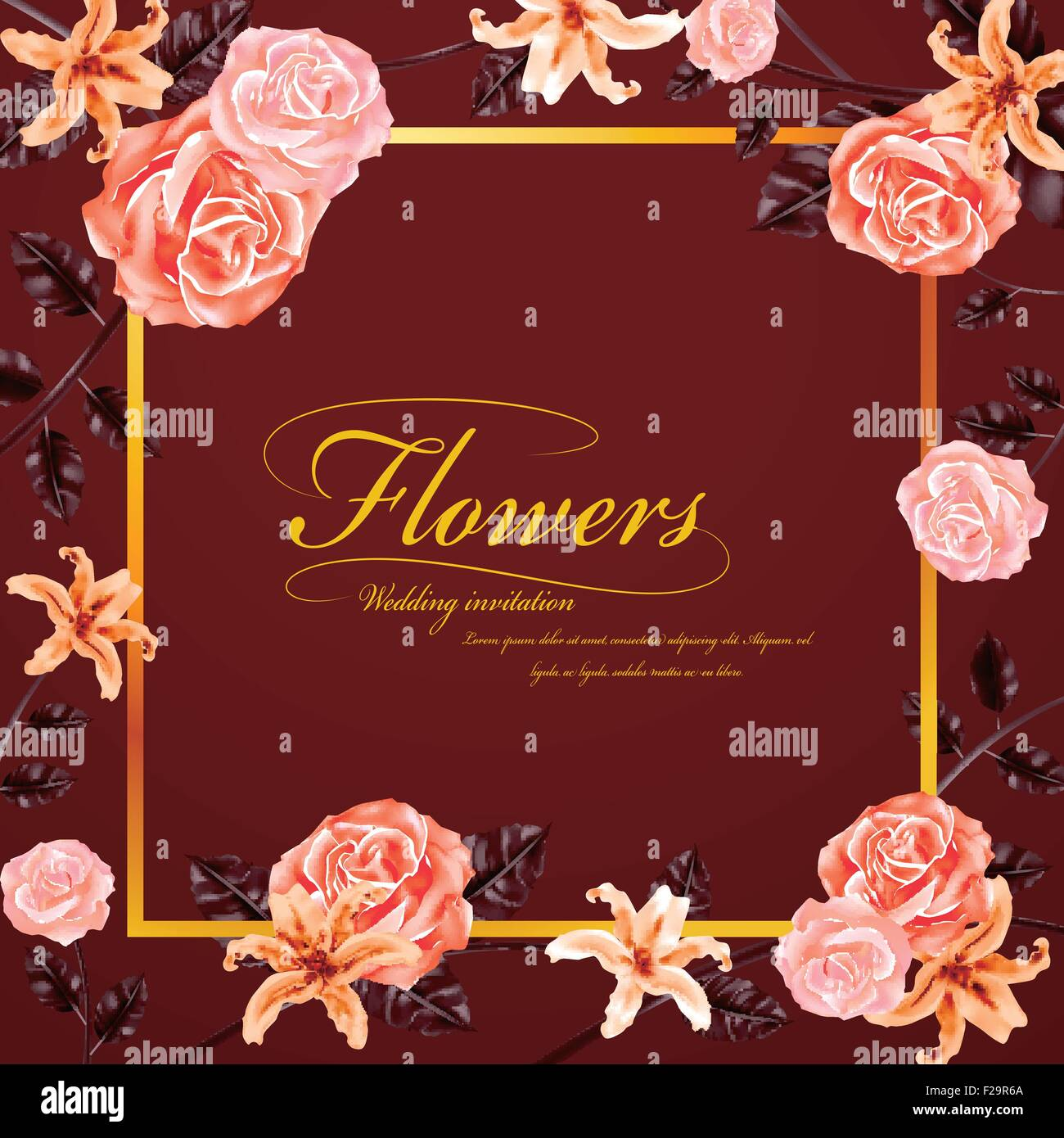 graceful floral wedding invitation with roses and lilies Stock ...