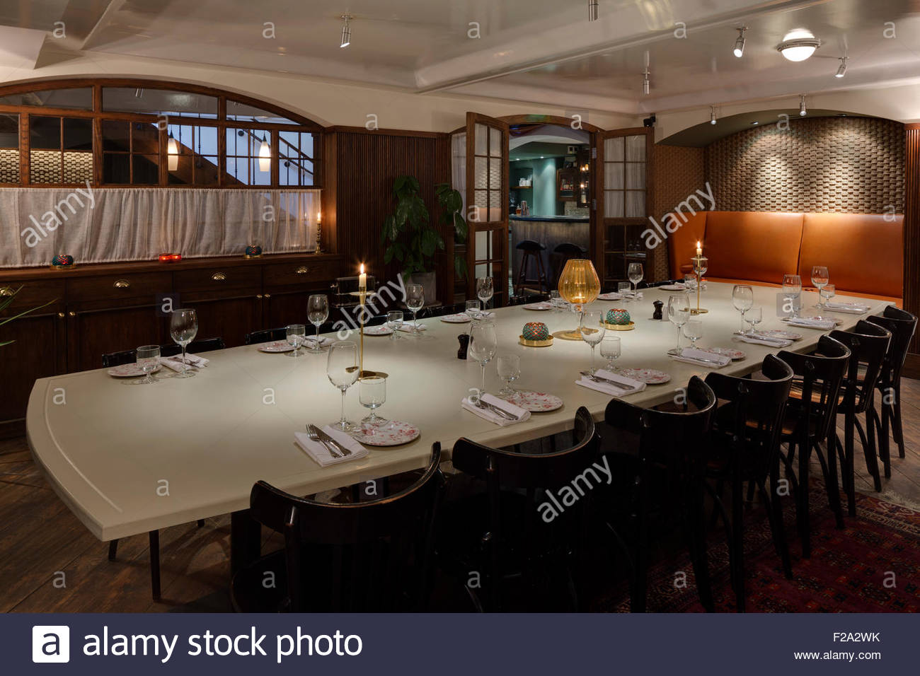 Private dining room. Blixen, London, United Kingdom. Architect Stock ...