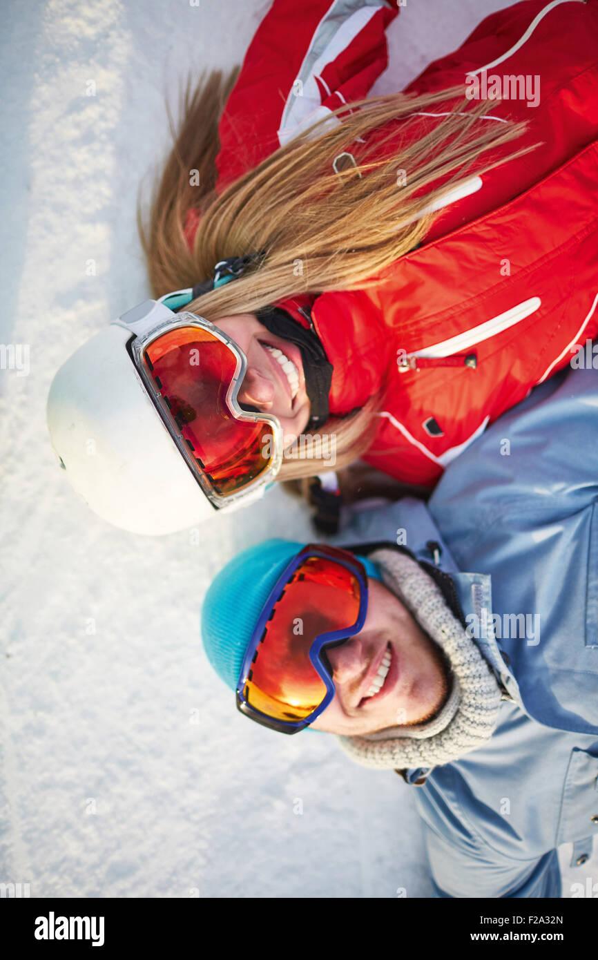 Couple on snow - Stock Image