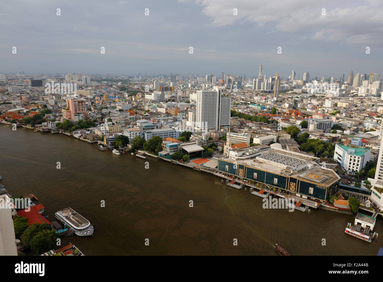 Panorama of the city center with Chao Phraya River, Bangkok, Thailand - Stock Image