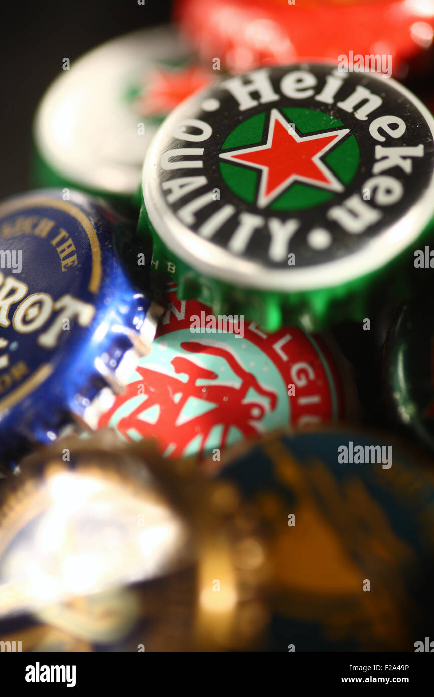 collection of beer lids - Stock Image