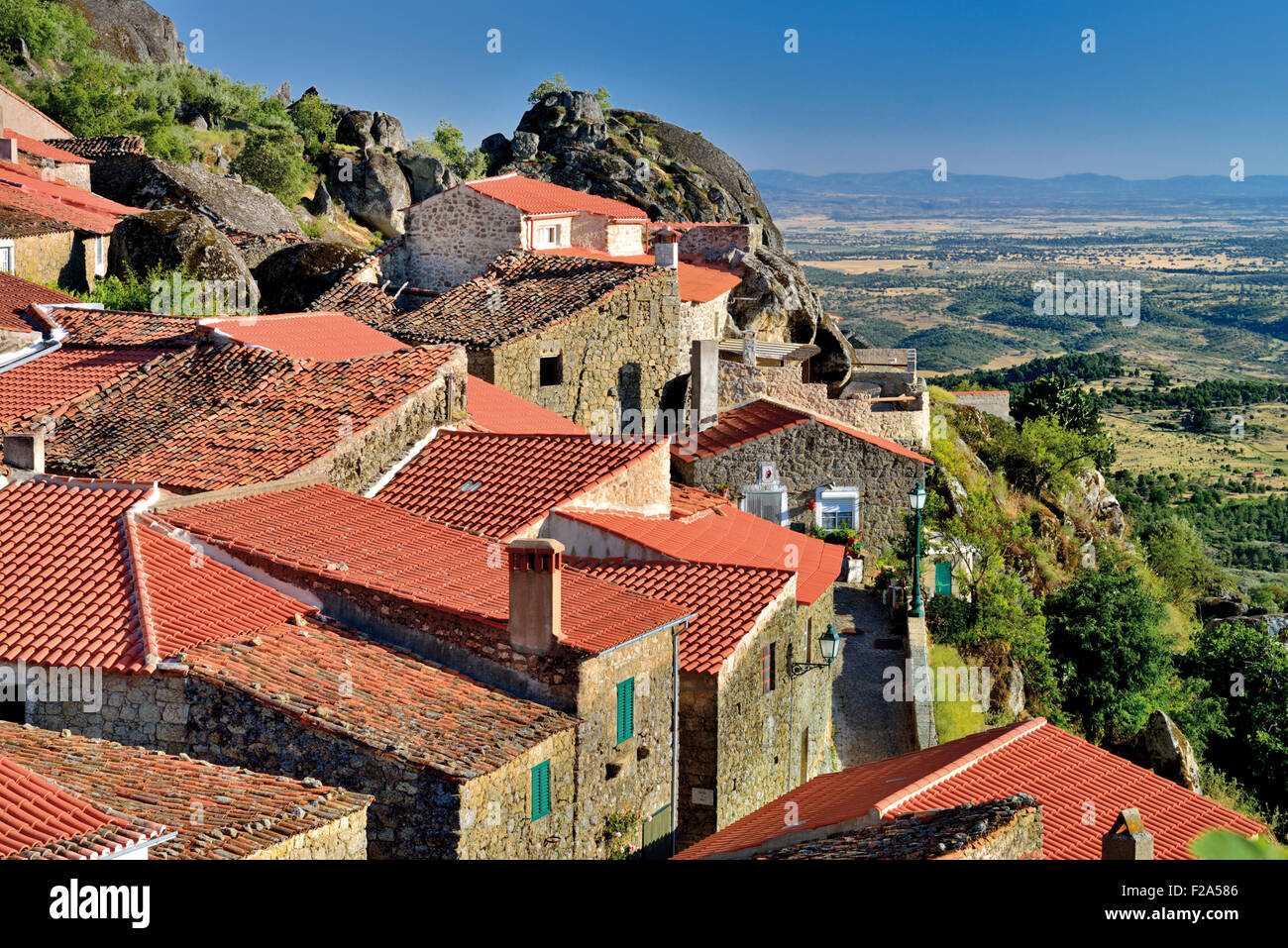 Portugal: View over the roof tops of historic village Monsanto Stock Photo