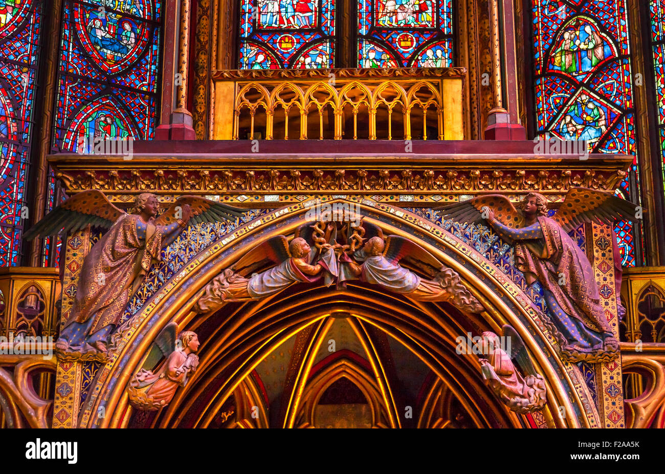 Stained Glass Angels Wood Carvings Cathedral Saint Chapelle Paris France.  Saint King Louis 9th created Sainte Chapelle - Stock Image