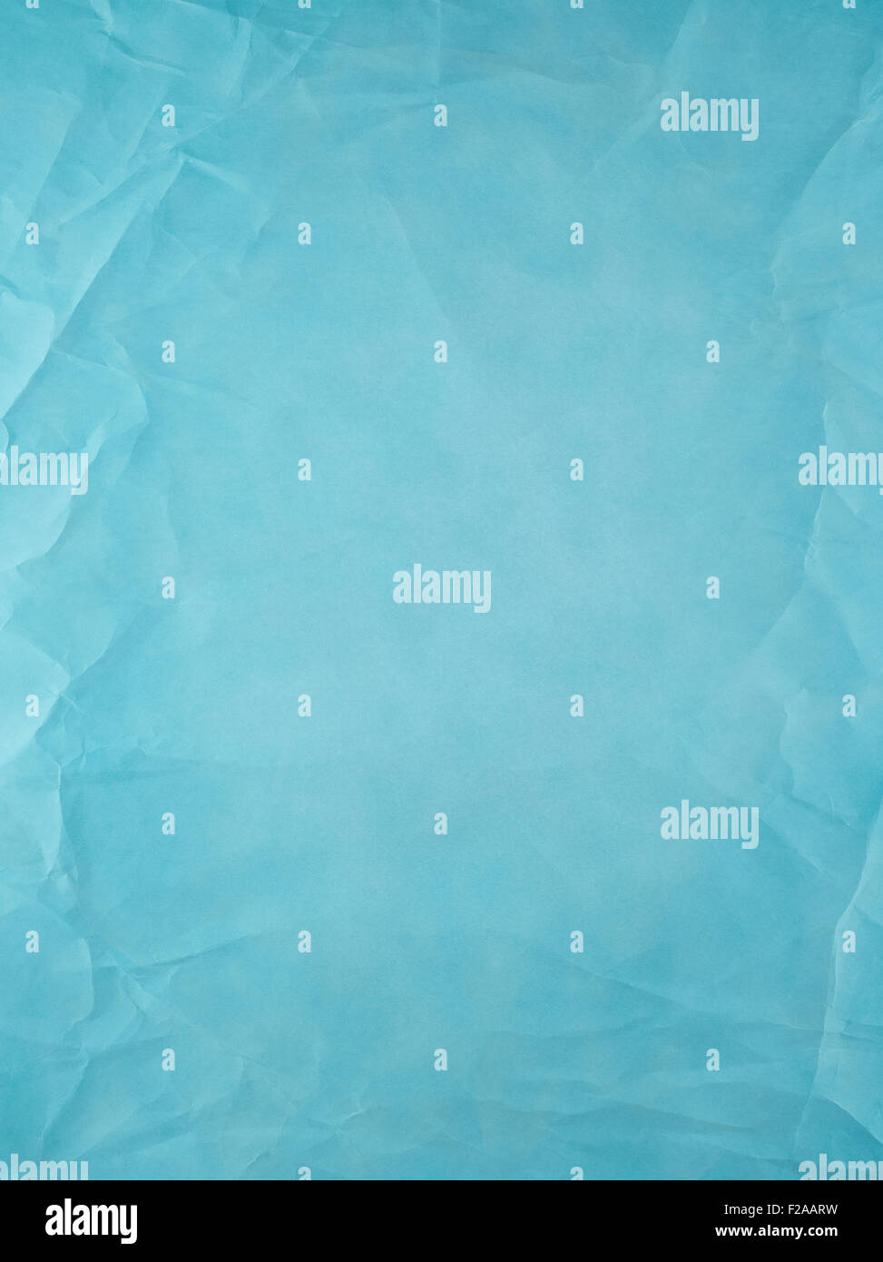 Turquoise old type paper, creases and wrinkles. - Stock Image