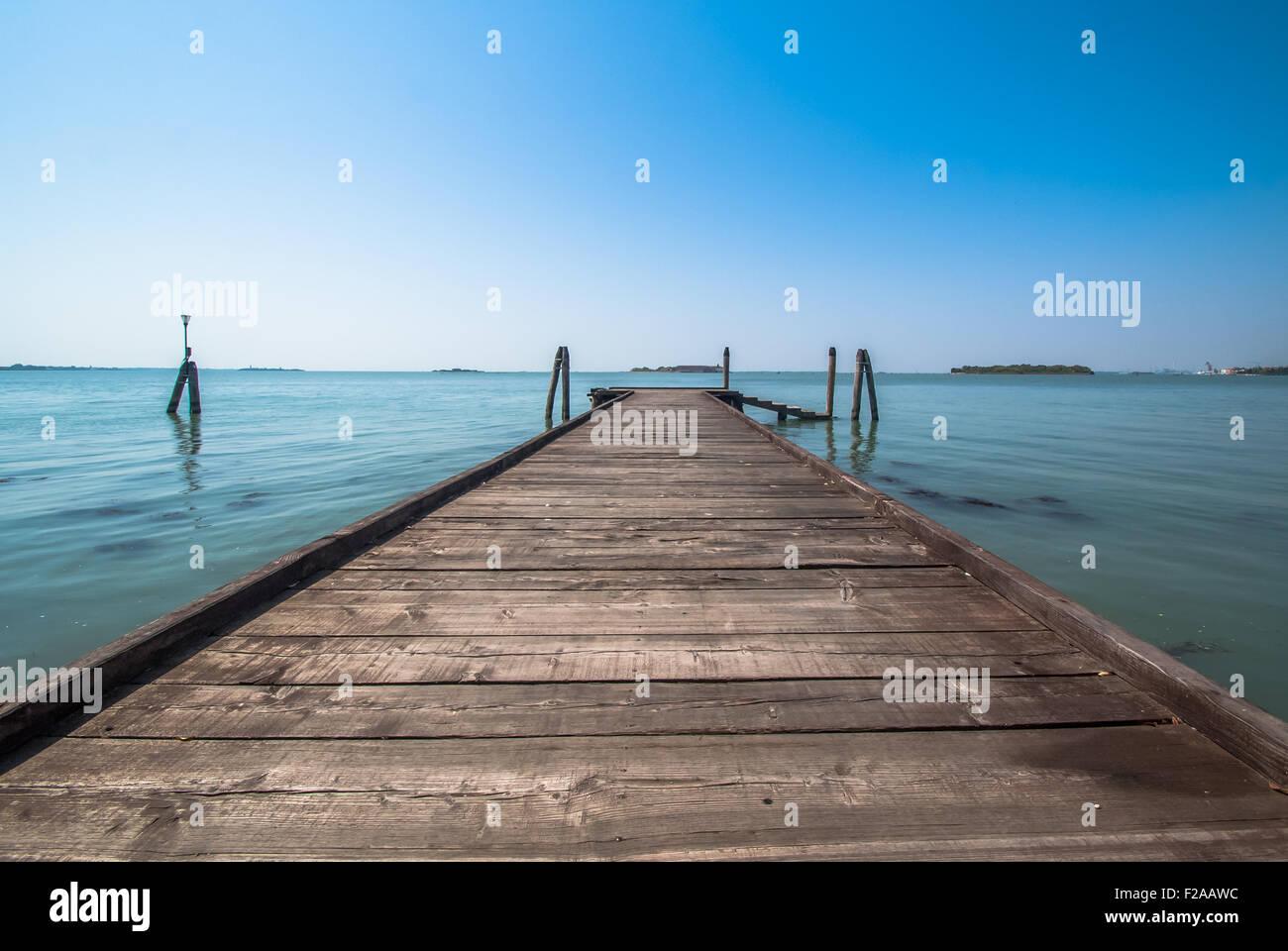 Wooden Bridge in San Servolo inland in Venice Italy - Stock Image