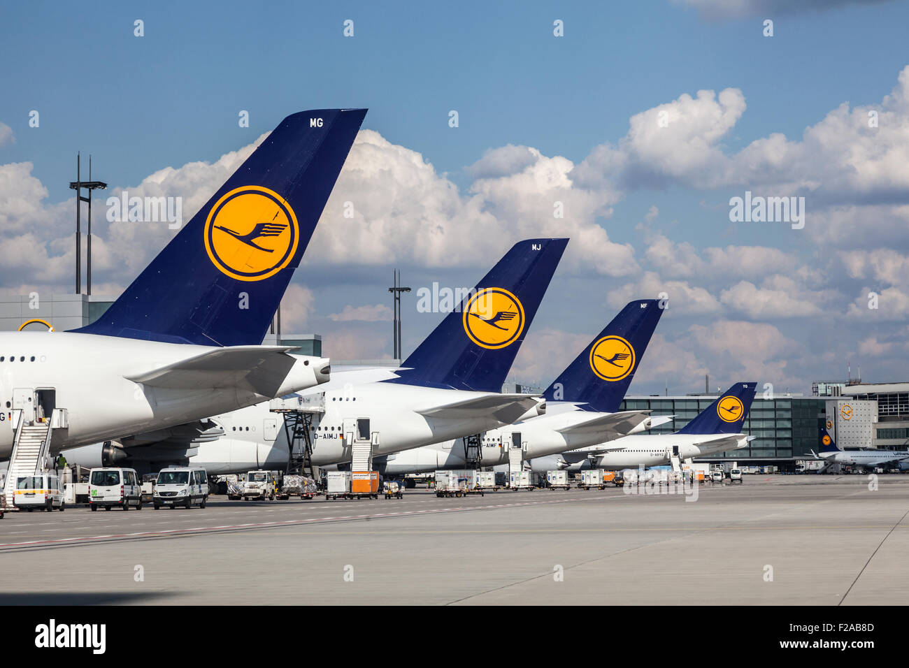 Lufthansa airplanes at the Frankfurt Airport - Stock Image