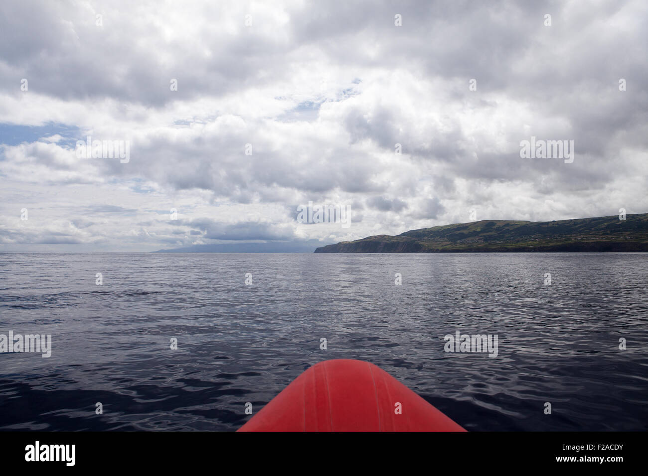 Atlantic Ocean and cloudy sky in Azores - view from sail boat - Stock Image