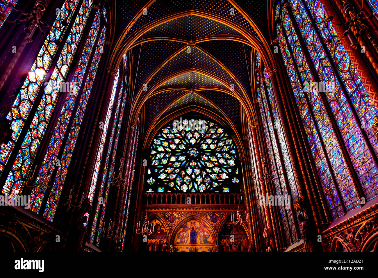 Rose Window Stained Glass Cathedral Ceiling Saint Chapelle Paris France.  Saint King Louis 9th created Sainte Chapell - Stock Image