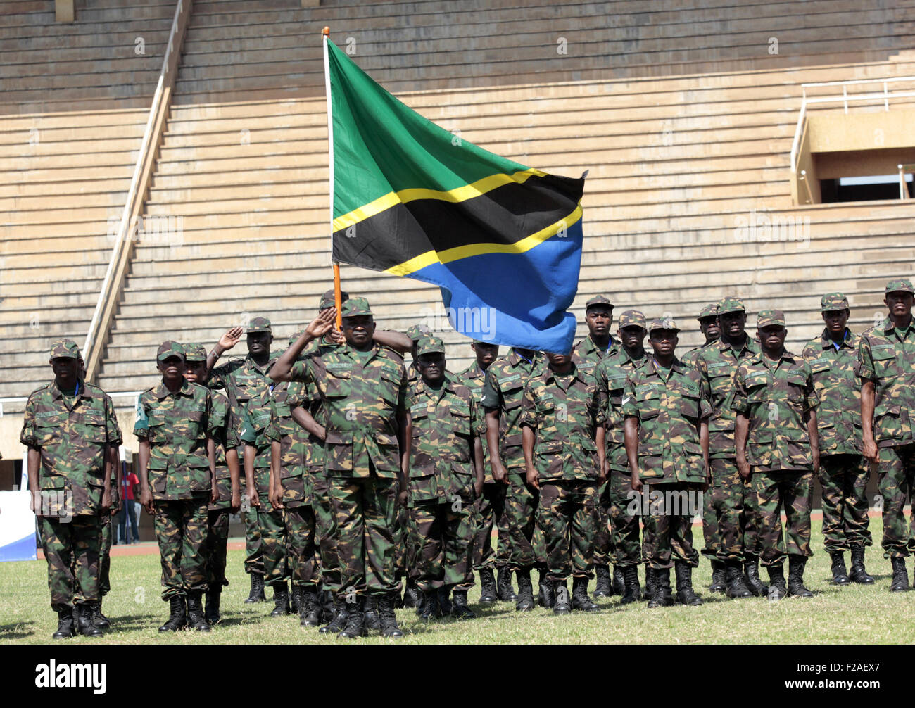 Kampala, Uganda. 16th August, 2015. Tanzania take part parade during the 9th edition of the East Africa Military Stock Photo