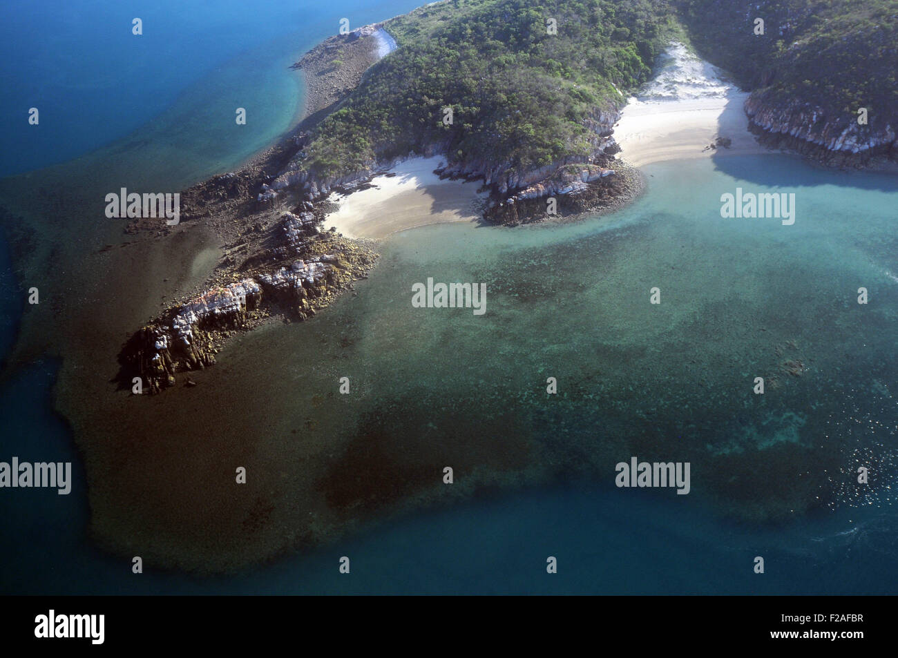 Aerial view of fringing coral reefs and remote beaches of islands in the Buccanneer Archipelago, Kimberley region, Stock Photo