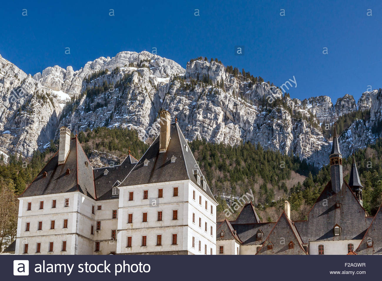 Grande Chartreuse, in Saint-Pierre-de-Chartreuse (France). head monastery of the Carthusian order - Stock Image