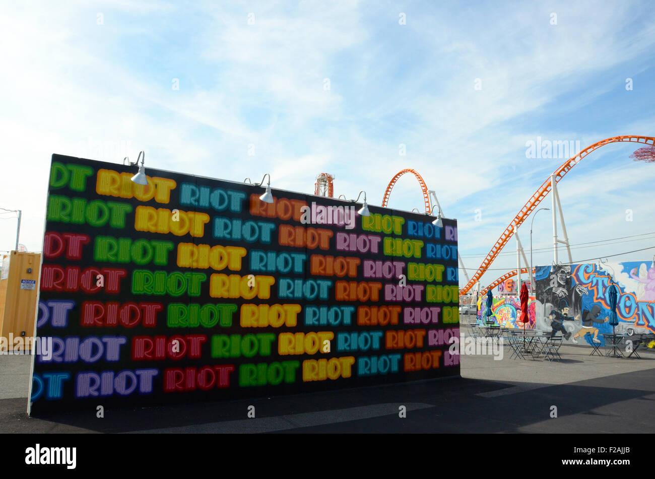 Ben Eine coney art walls coney island brooklyn - Stock Image