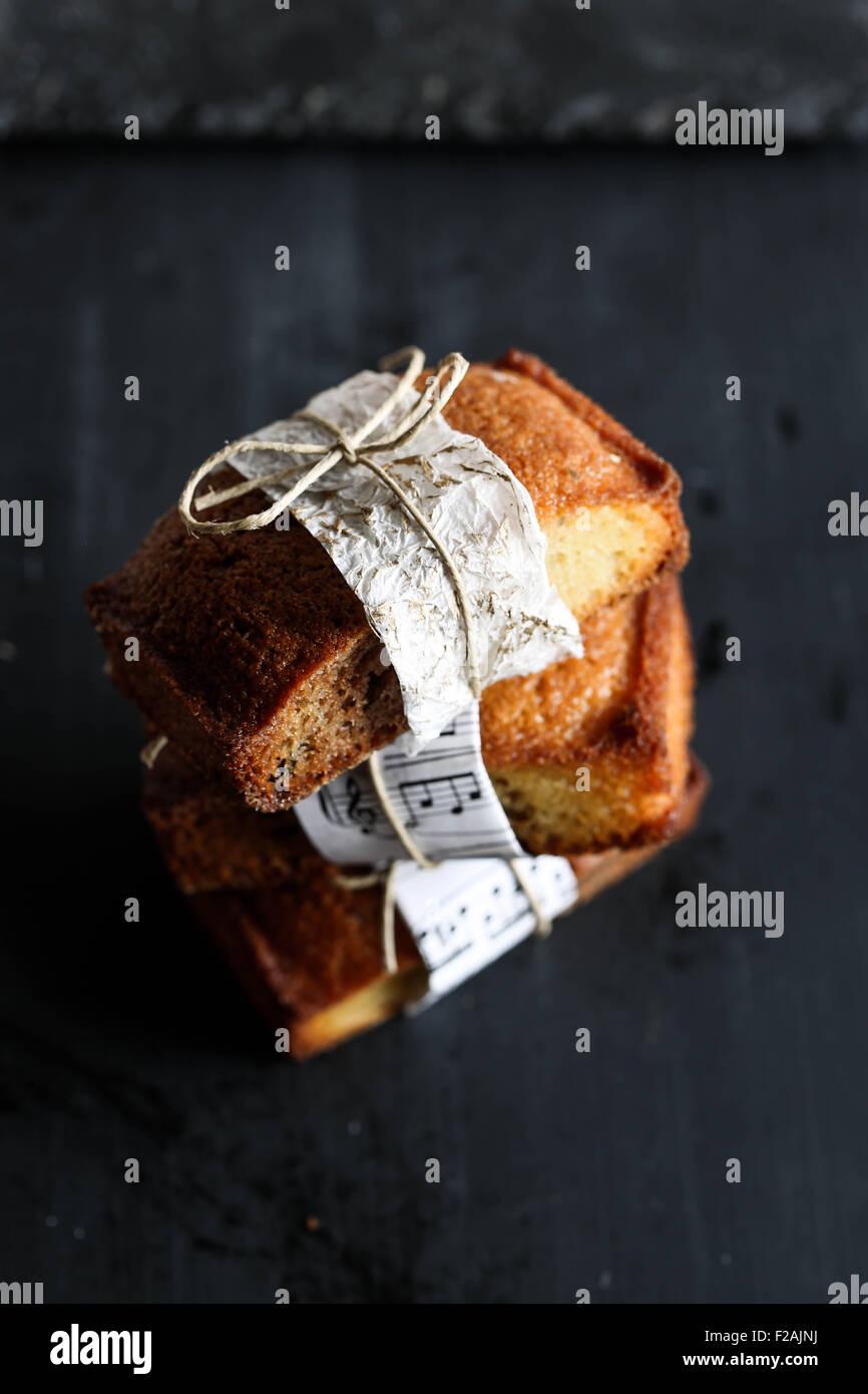 Three vanilla financier cake. - Stock Image