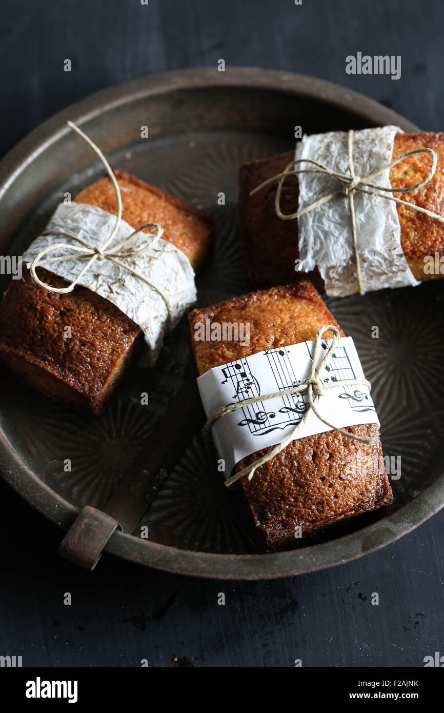 Three vanilla financier cakes. - Stock Image