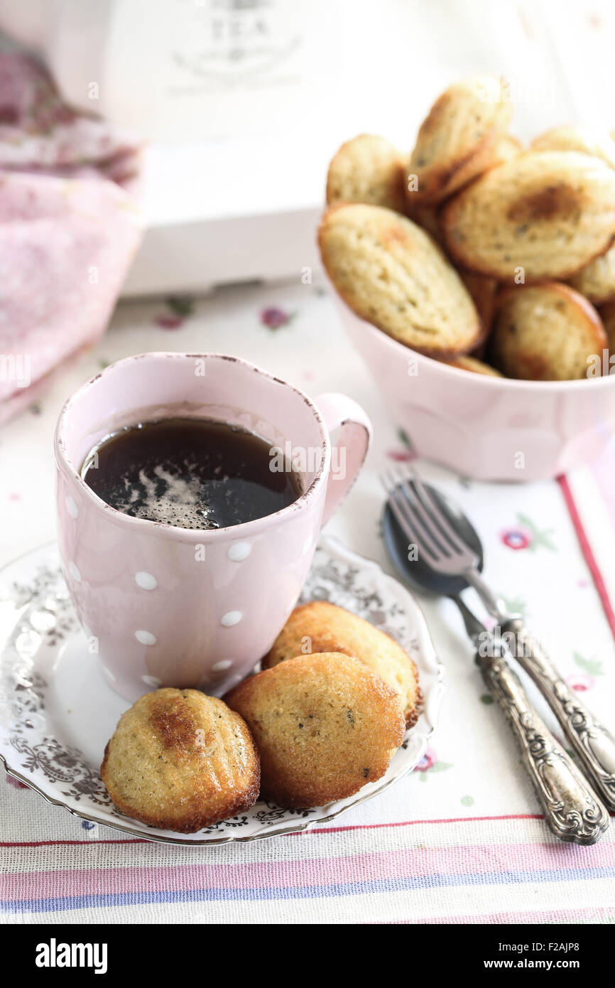 Madeleines and a cup of tea. - Stock Image