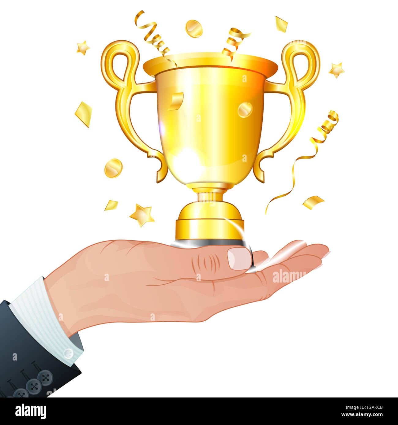 award winner concept hand gold trophy in realistic 3d style stock