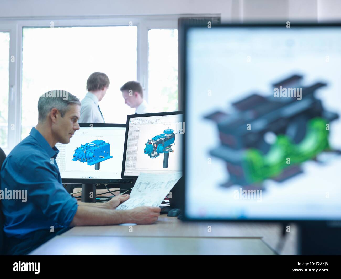 Engineer using computer aided design (CAD) - Stock Image