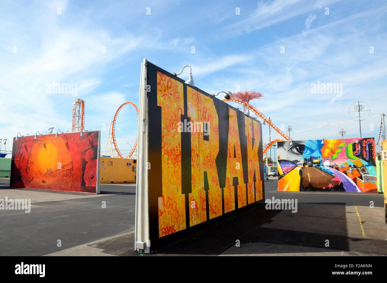 irak coney art walls coney island brooklyn - Stock Image