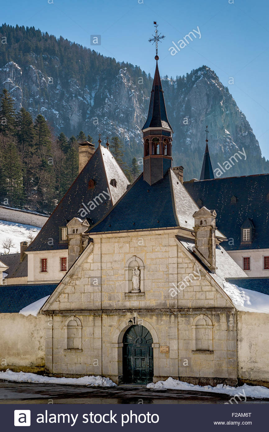 Grande Chartreuse, in Saint-Pierre-de-Chartreuse (France). head monastery of the Carthusian order Stock Photo