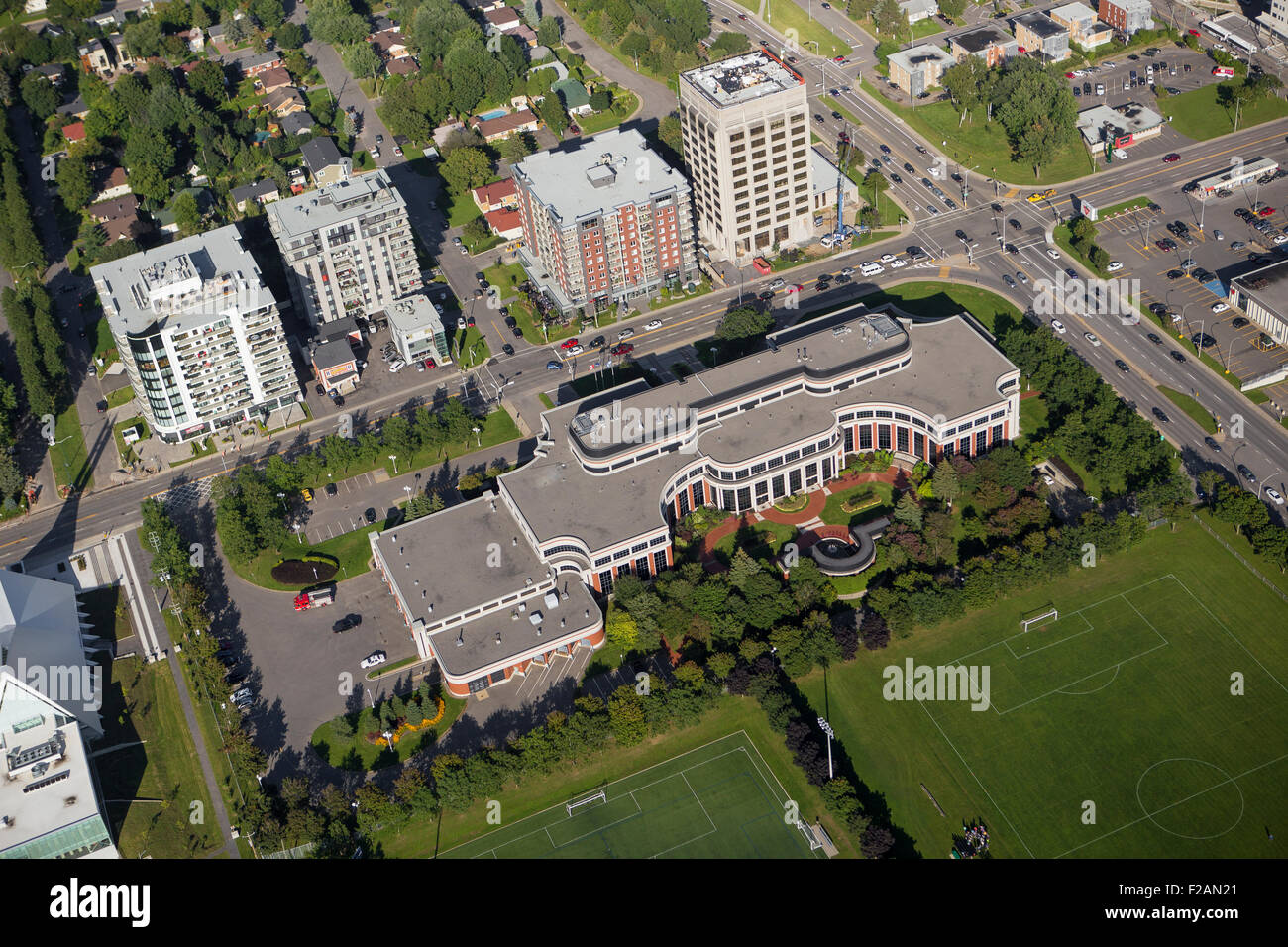 Edifice Andree Boucher building is pictured in this aerial photo in Quebec city - Stock Image