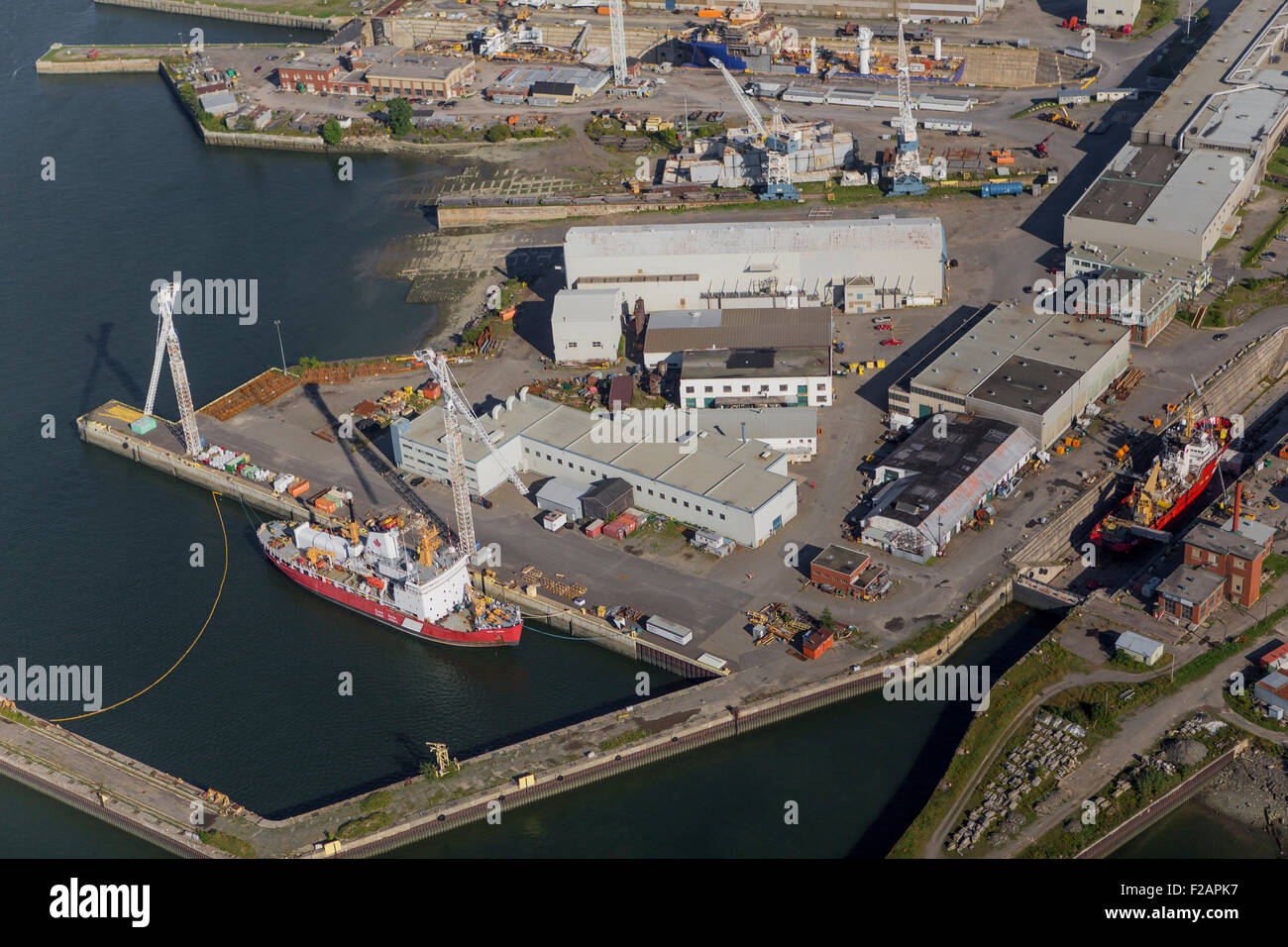 Davie Yards Incorporated, more commonly known as MIL-Davie Shipbuilding, is pictured in this aerial photo in Levis - Stock Image