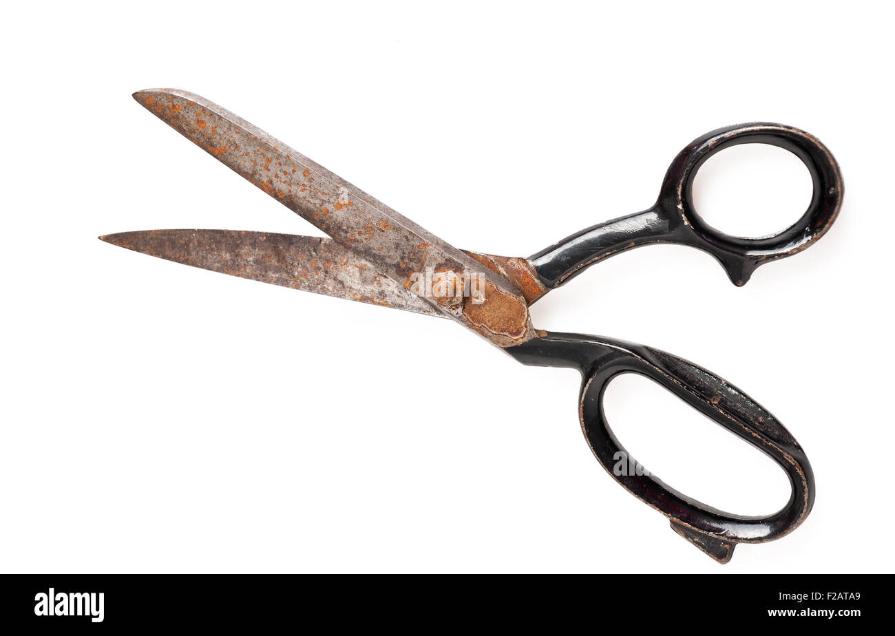 Old scissor isolated on white - Stock Image