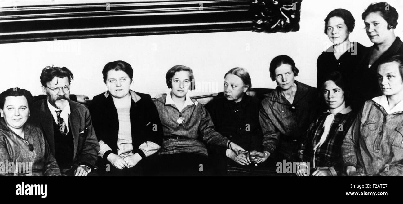 Nadezhda Krupskaya, Lenin's widow in Nov. 1927. Mrs. Lenin is shown in center (with head turned to side and - Stock Image