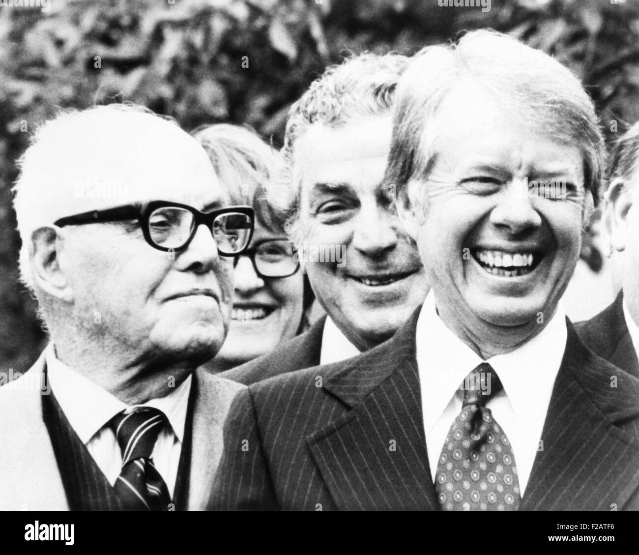 President Jimmy Carter and AFL-CIO President George Meany, Dec. 2, 1977. Carter signed legislation raising the minimum - Stock Image