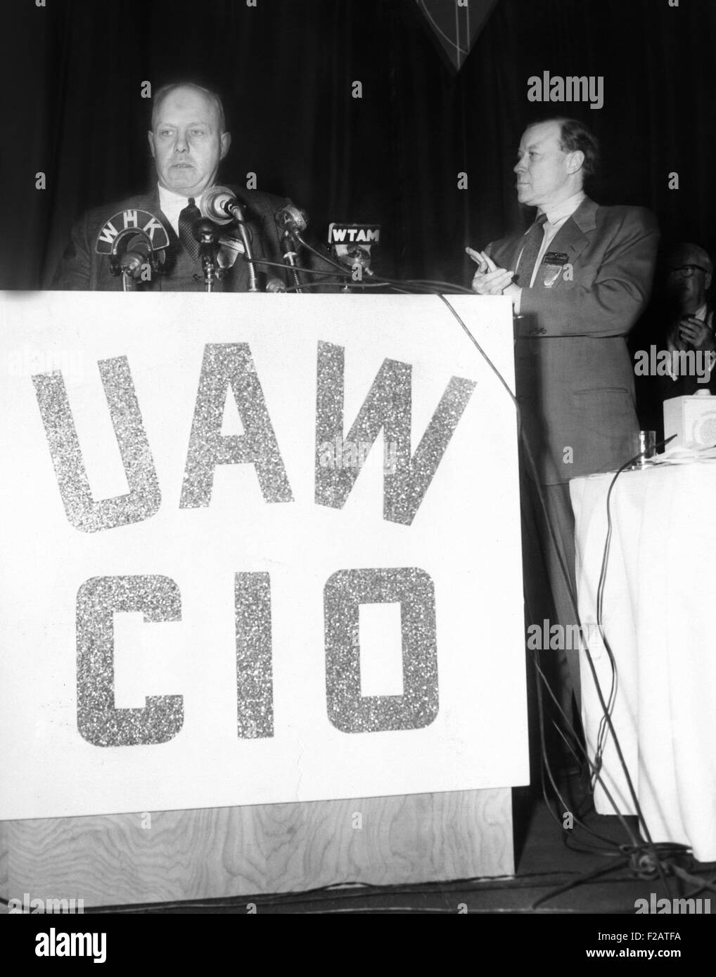 AFL president George Meany addressed Convention of the United Auto Workers-CIO. March 29, 1955. UAW President Walter - Stock Image